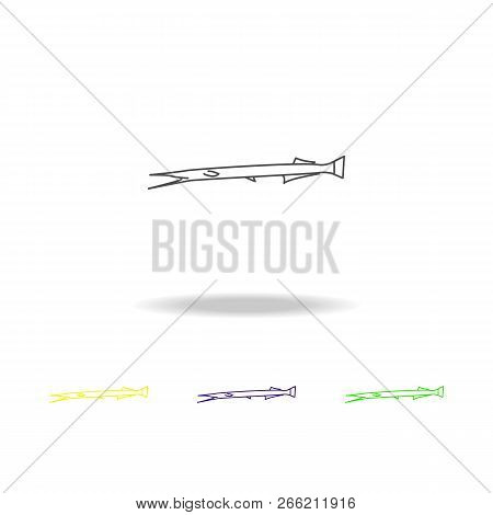 Garfish Multicolored Icons. Element Of Popular Sea Animals Icon. Premium Quality Graphic Design Outl