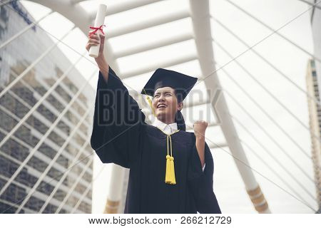 Graduate Student And Success Education In University Concept. Happy Asian Student Woman Graduate Dip
