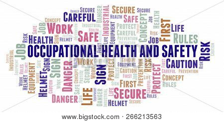 Occupational Health And Safety Word Cloud. Word Cloud Made With Text Only.