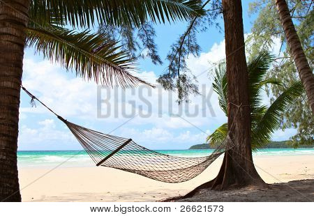 Relaxation on beautiful tropical beach