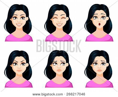 Face Expressions Of Beautiful Woman With Dark Hair And Cute Hairstyle. Set Of Different Female Emoti