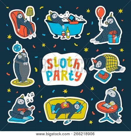 Animal Party. Lazy Sloth Party. Cute Sloths Having Fun At A Lazy Party. Vector Illustration.