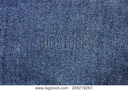 Blue Jeans Denim Pattern Background. Empty Natural Classic Jeans Texture, Denim Fabric Close Up View