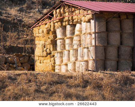 Bundle of hay in a hayloft