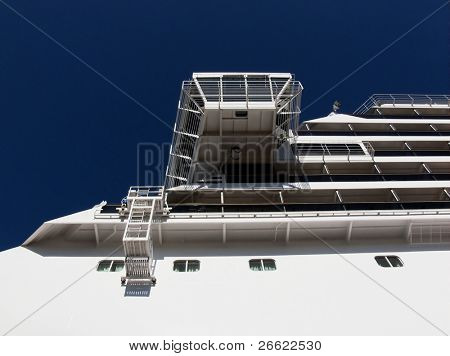 Topside of cruise ship in tour