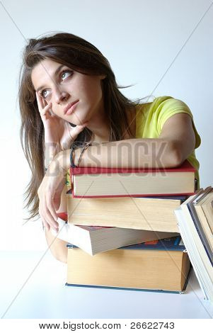 Bored Girl student and pile of books poster