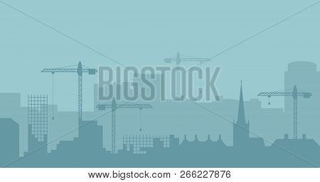 Abstract Industrial Skyline. Panoramic Industrial Construction Landscape Silhouette. Vector Illustra