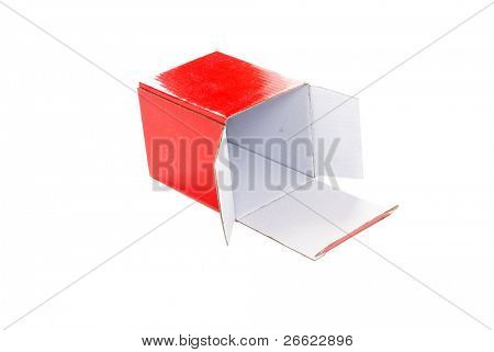 Box of red cardboard wrapping little object poster