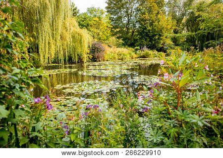 Landscape View On The Beautiful Claud Monets Lake With Lilies, Famous French Impressionist Painter I