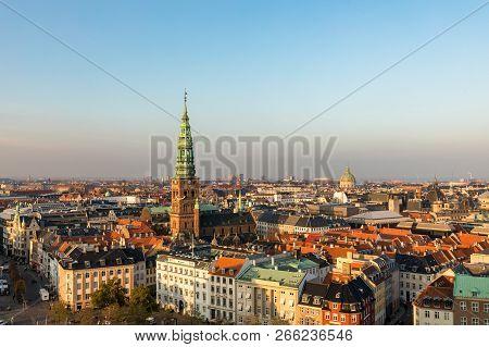 Copenhagen Skyline In Evening Light. Copenhagen Old Town And Copper Spiel Of Nikolaj Contemporary Ar