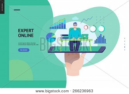 Business Series, Color 3 - Expert Online Consulting -modern Flat Vector Illustration Concept Of Cons