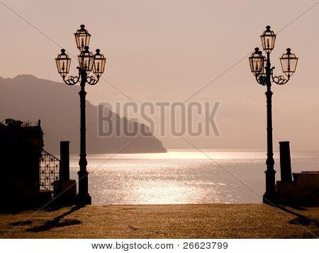 sunset on the coast of Amalfi