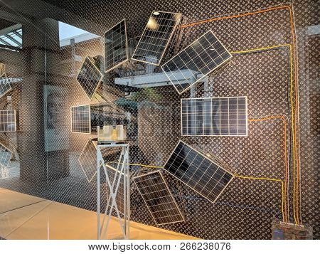 Honolulu - May 31, 2018:  Louis Vuitton Window Display With Solar Panels Powering Display.  Louis Vu