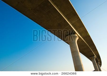 overpass on background of blue sky