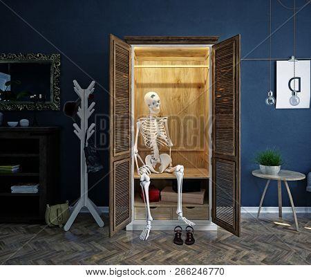 the skeleton in the closet. Creative conceptual idea. 3d rendering