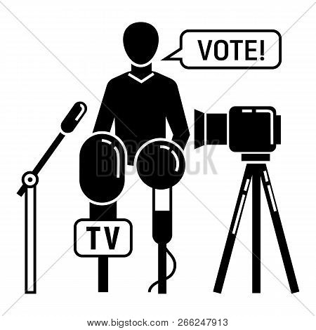 Political Candidate Interview Icon. Simple Illustration Of Political Candidate Interview Vector Icon