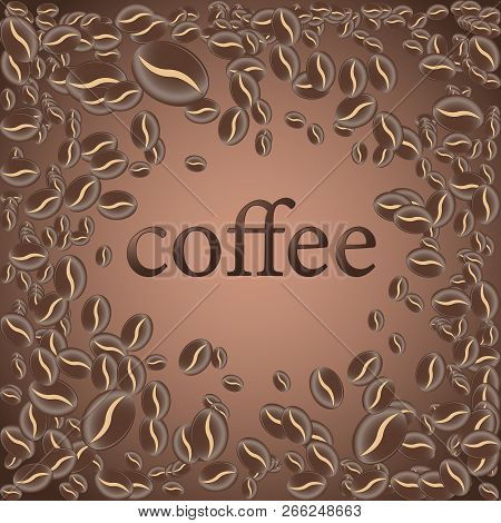 Roasted Coffee Bean, Vector Light Chocolate Background