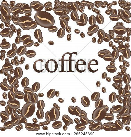 Roasted Coffee Bean, Isolated Background Vector Illustration