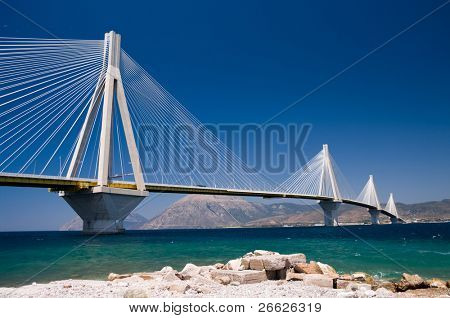 suspension bridge crossing Corinth Gulf strait, Greece.  Is the world's second longest cable-stayed bridge;