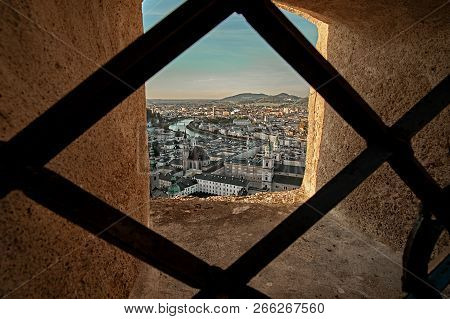 Beautiful Sunset Aerial View On Salzburg, Austria, Europe. City In Alps Of Mozart Birth. View Of Sal