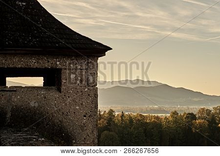 Beautiful Sunset Forest Mountain View From Festung Hohensalzburg Castle Fortress In Salzburg, Austri