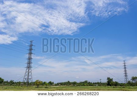 High Voltage Post.high-voltage Tower Sky Background.it Is Importing High Voltage Electricity From Ne