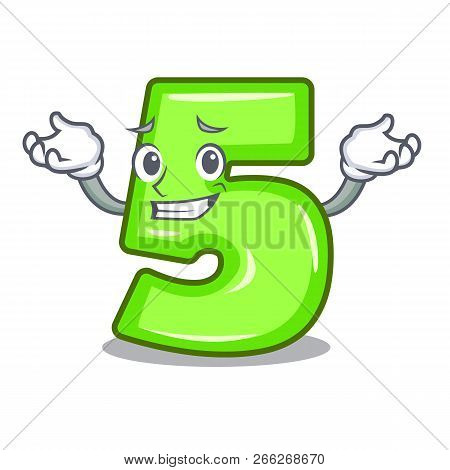 Grinning Cartoon House Number Five On Wall