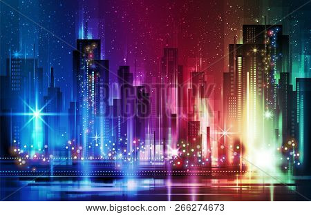 Night City Background, Vector Illustration, Illustration With Architecture, Skyscrapers, Megapolis,