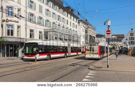 St. Gallen, Switzerland - September 19, 2018: Marktplatz Square In The Historic Part Of The City. Th