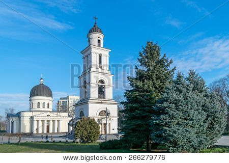 The Metropolitan Cathedral Nativity of the Lord, the main cathedral of the Moldovan Orthodox Church in Central Chisinau, Moldova poster
