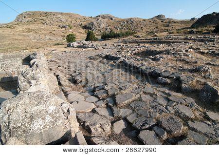 paving stone in the ancient Hittite city of Hattusa, Turkey
