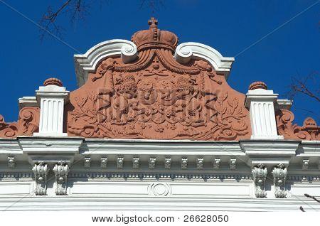 decorative pediment in terracotta of History Museum (Sutu palace) in Bucharest, Romania