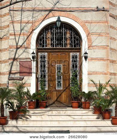 wooden door in Bucharest, Romania