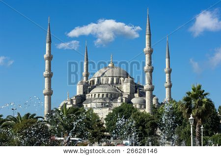 fountain and Sultan Hamet Mosque or Blue Mosque in Istanbul, Turkey