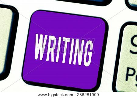 Writing Note Showing Writing. Business Photo Showcasing Action Of Write Something Making Important N
