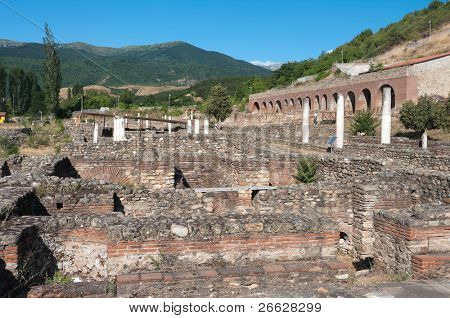 The roman emperor Hadrian built the theater in Heraclea Lyncestis founded by Philip of Macedon and conquered by the Romans two centuries later