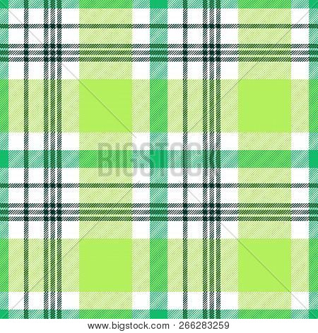 Madras Plaid Pattern In Lime, Green And White. Seamless Fabric Texture.