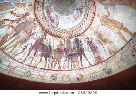 detail of fresco in the tomb of a thracian king, Kazanlak - Bulgaria