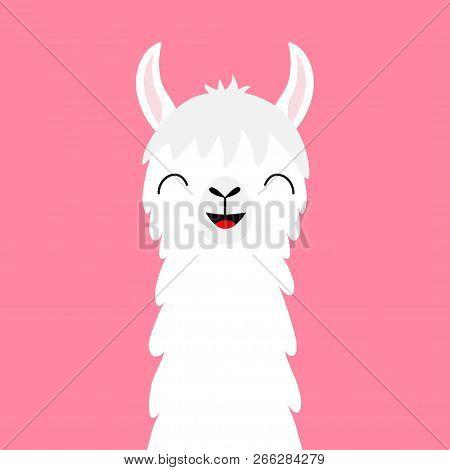 Llama Alpaca Animal Face Neck. Fluffy Hair Fur. Cute Cartoon Funny Kawaii Smiling Character. Childis