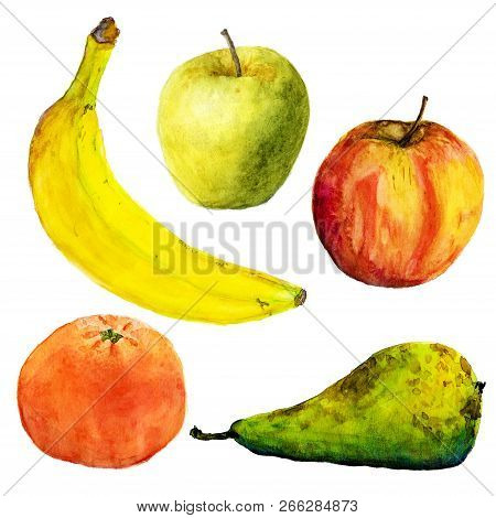 Watercolor Fruits. Illustration On White Background. Banana, Apples, Pear, Mandarin