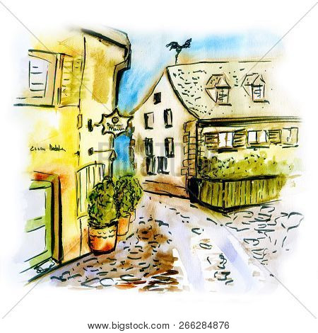 Illustration Of German City Freiburg Im Breisgau.