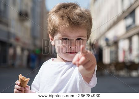 Look Over There. Little Child Point Finger On City Street. Small Boy With Stylish Haircut. Little Ch