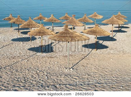 beach umbrellas ordered in rows poster