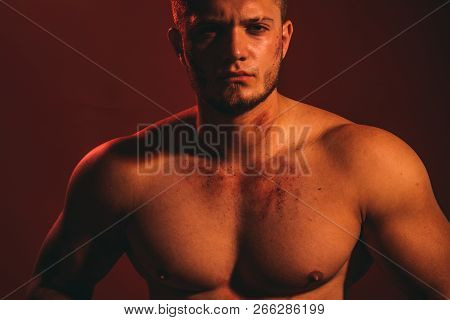 Athletic And Fit. Young Dirty Worker Man. Strong Man With Muscular Chest. Muscular Man. Construction