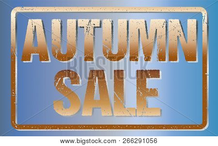 Autumn Sale Typography Isolated On Blue. Rubber Stamp Imitation