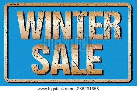 Winter Sale Typography Isolated On Blue. Rubber Stamp Imitation