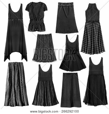 fea5c15fba8 Set Of Black Woman Clothes Isolated Over White