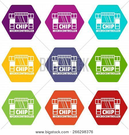 Chip Microcontroller Icons 9 Set Coloful Isolated On White For Web