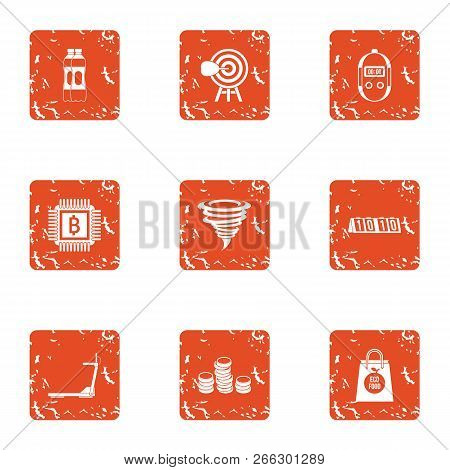 Sport Account Icons Set. Grunge Set Of 9 Sport Account Vector Icons For Web Isolated On White Backgr