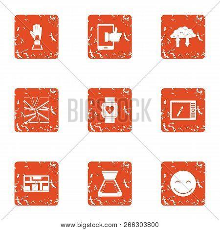 Cardiac Training Icons Set. Grunge Set Of 9 Cardiac Training Vector Icons For Web Isolated On White